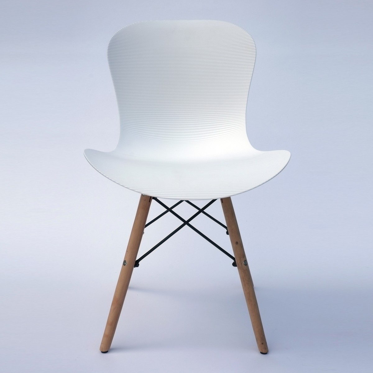 Corrugated Plastic Dining Chair in White (T806E001-WT)