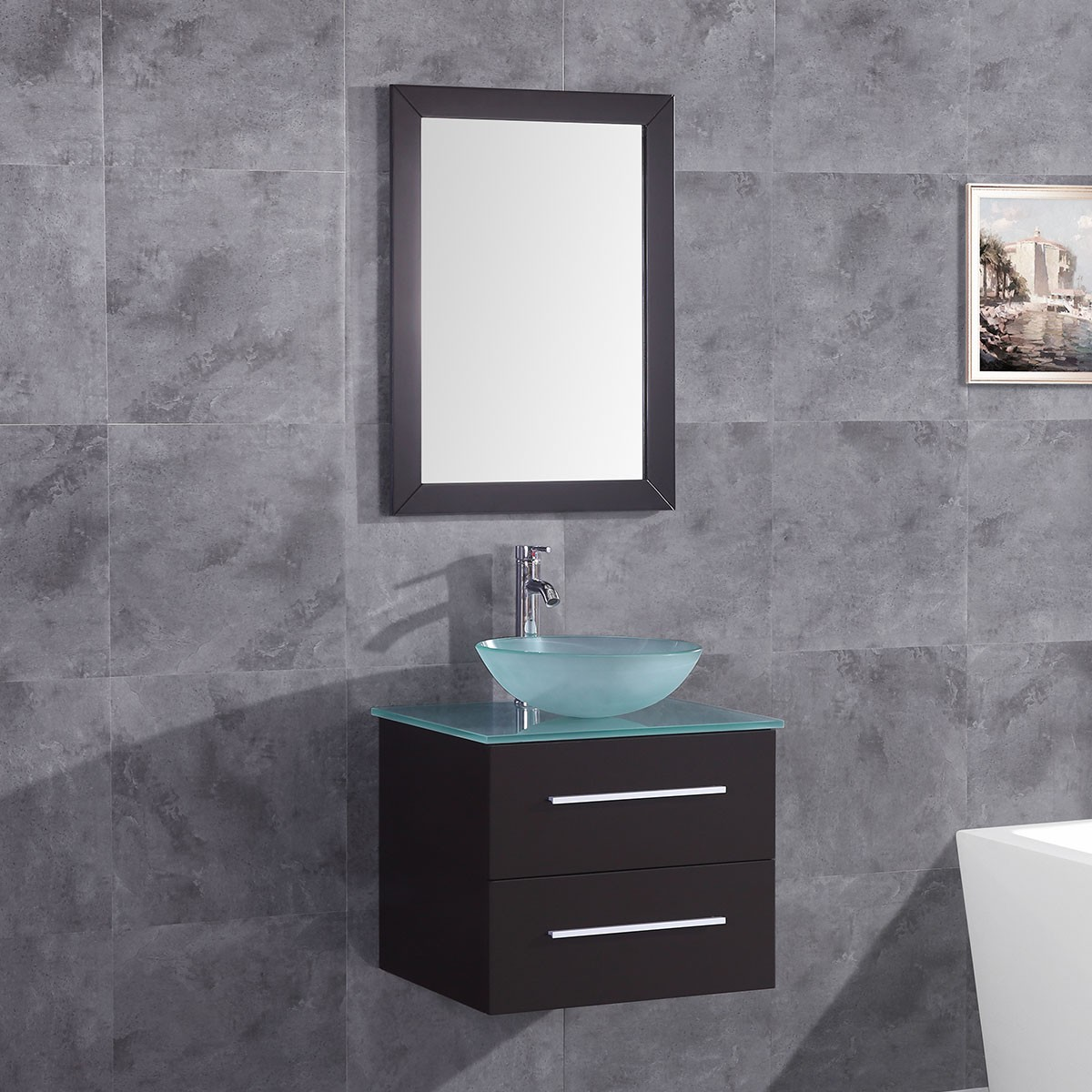 24 In. Plywood Vanity Set with Basin and Mirror (DK-T9190-SET)