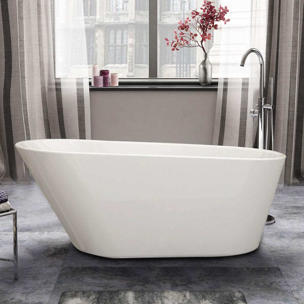 61 In Seamless White Acrylic Freestanding Bathtub (DK-PW-1506B)