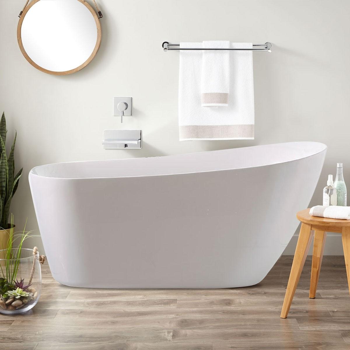 BATHPRO 59 In Freestanding Bathtub - Acrylic Pure White (DK-PW-K33572)