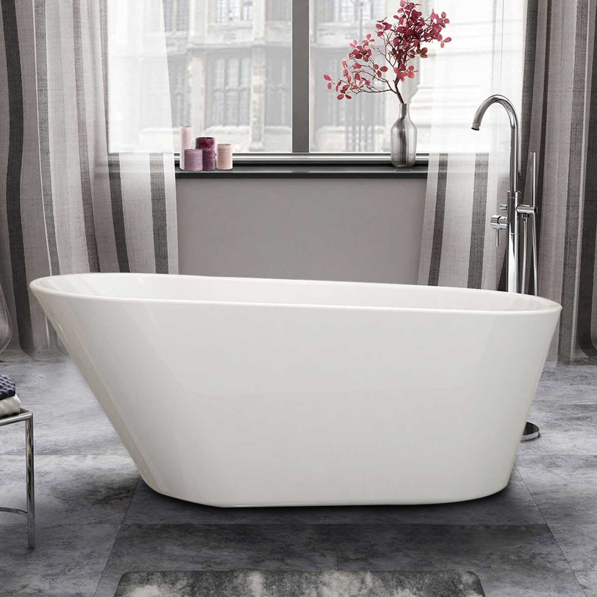 61 In Seamless White Acrylic Freestanding Bathtub (DK-1506B)