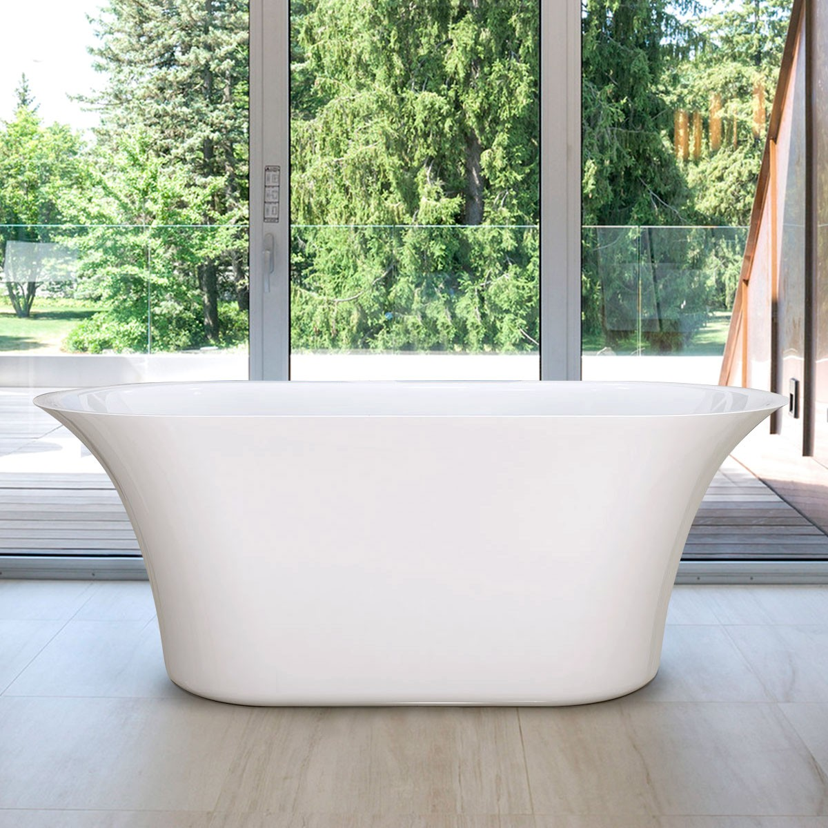 59 In Freestanding Bathtub - Acrylic Pure White (DK-PW-60572)