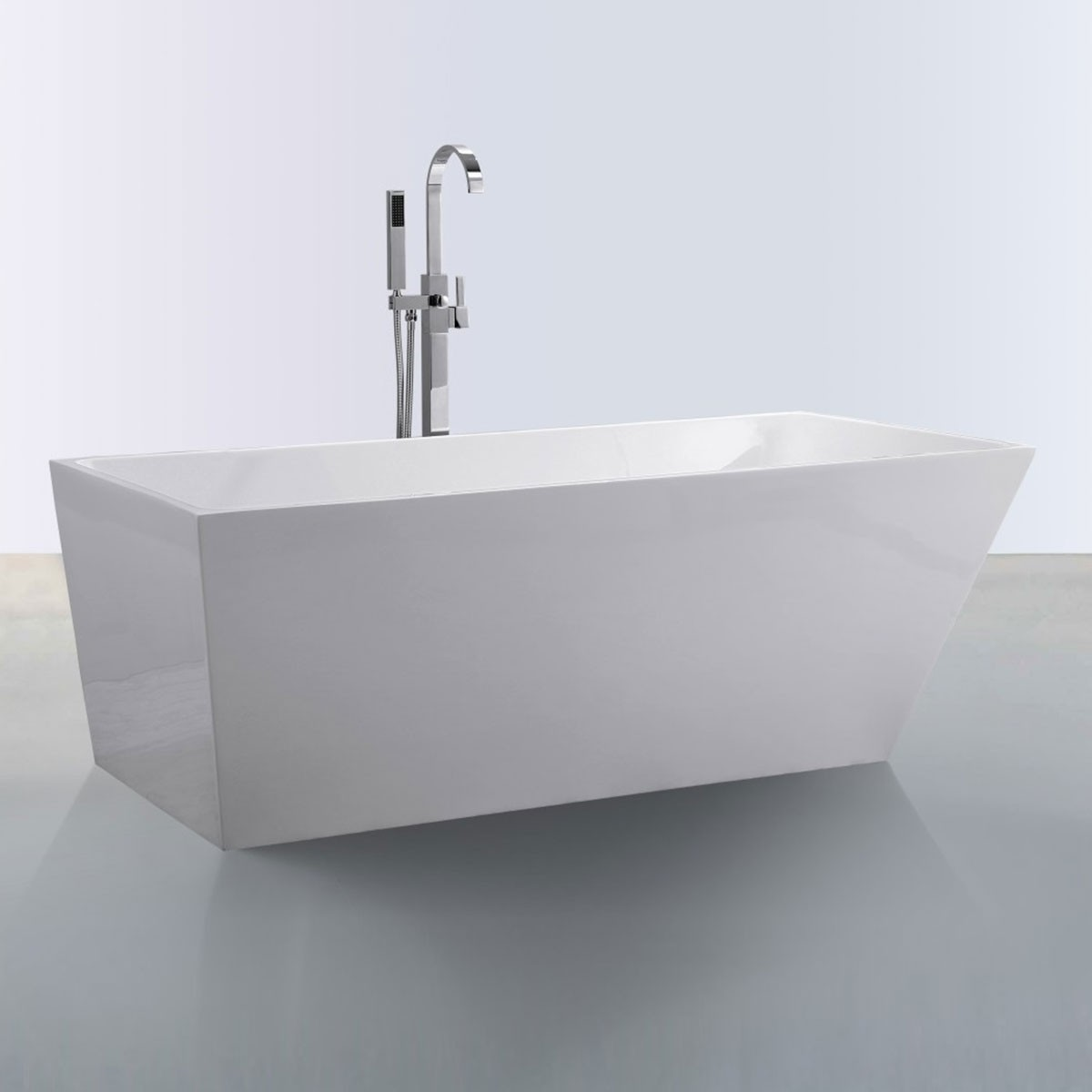 59 In Freestanding Bathtub - Acrylic White (DK-SLD-YG870-15)