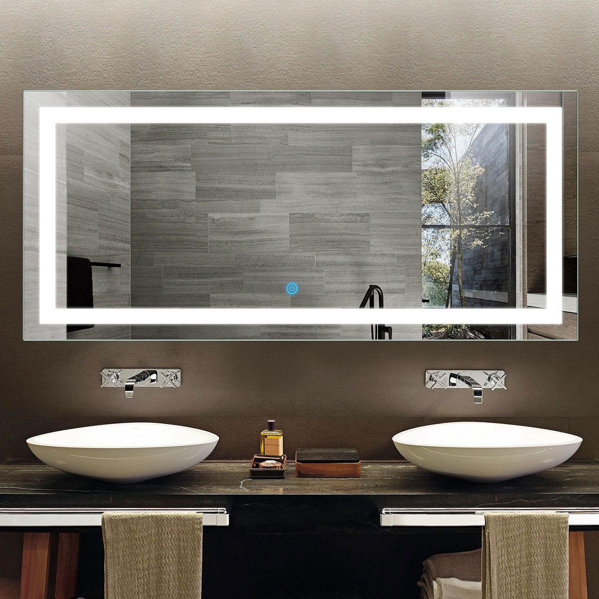 70 x 32 In Horizontal LED Bathroom Mirror with Touch Button (DK-OD-CK010-A)