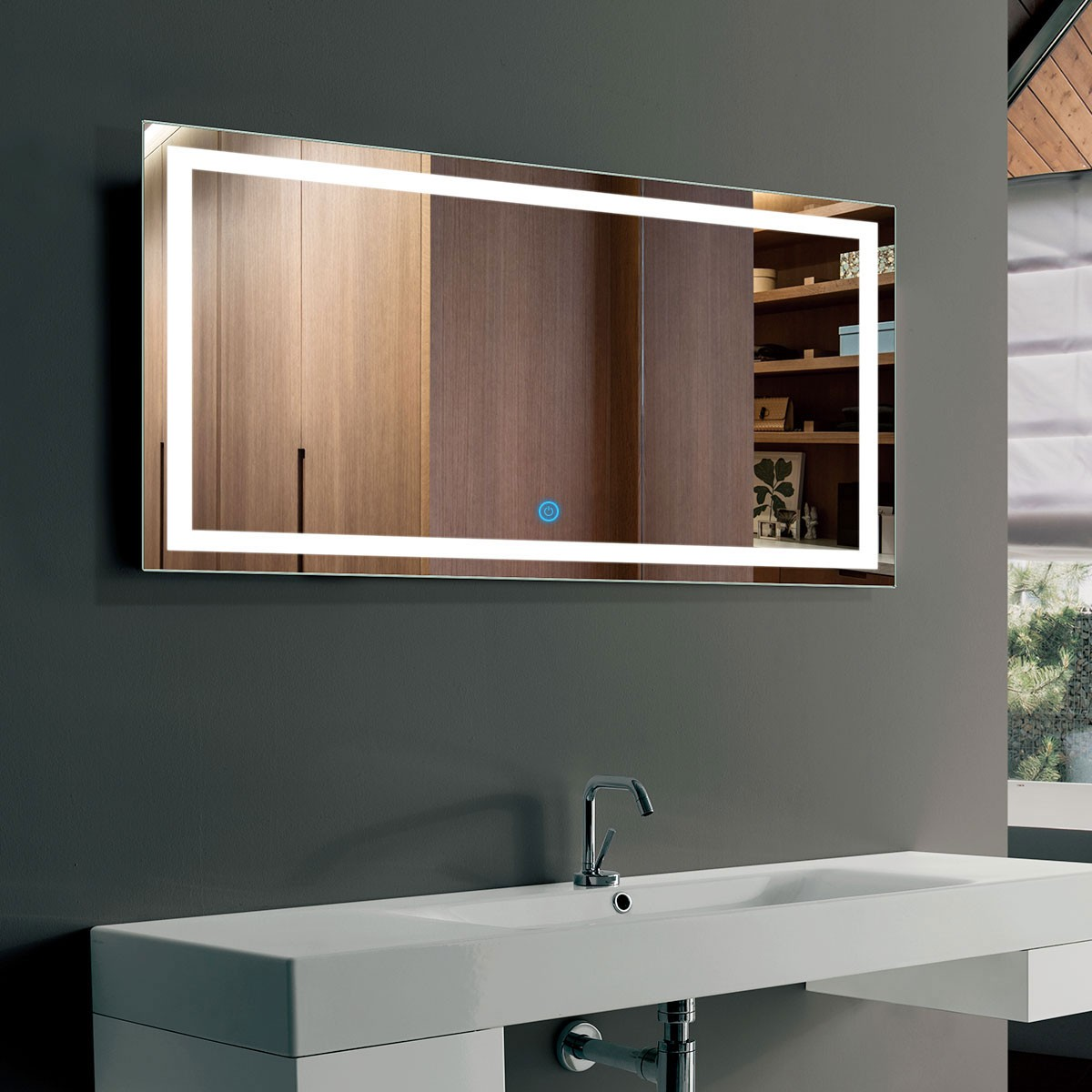40 x 24 In Horizontal LED Bathroom Mirror with Touch Button (DK-OD-CK010-G)