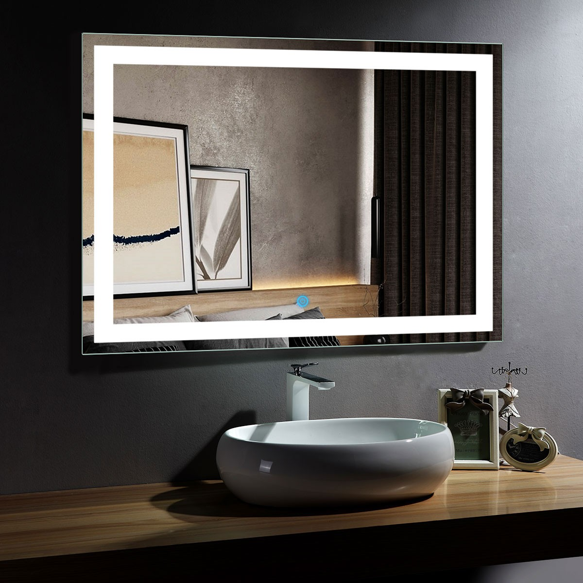 48 x 36 In Horizontal LED Bathroom Mirror with Touch Button (DK-OD-CK010-D)