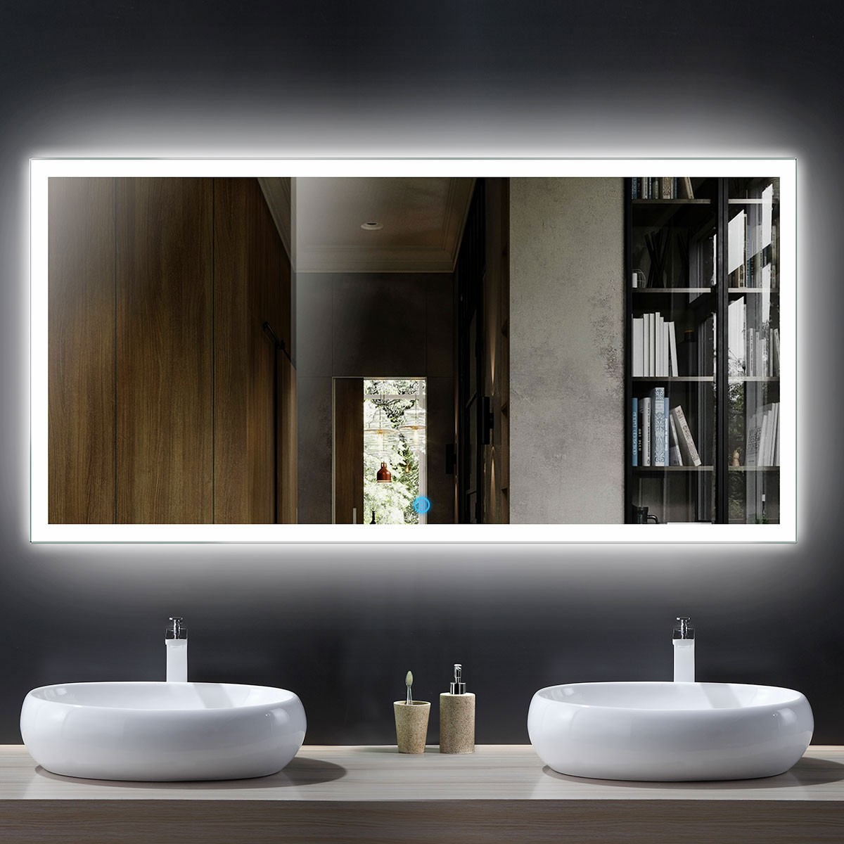 55 x 28 In Horizontal LED Bathroom Mirror with Touch Button (DK-OD-N031-D)