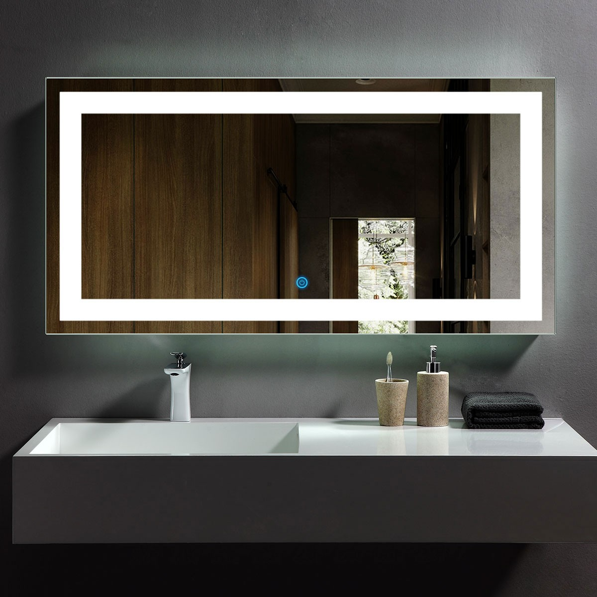 48 x 24 In Horizontal LED Bathroom Mirror with Touch Button (DK-OD-CK010-E)