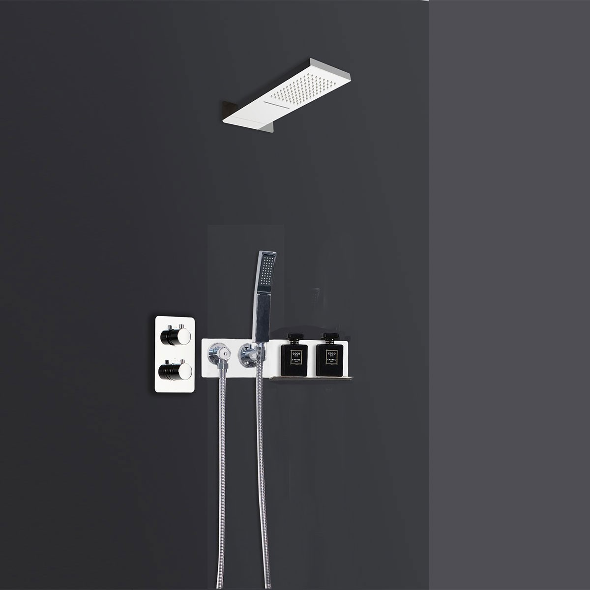 Chrome In-Wall Thermostatic Stainless Steel Shower Panel System (LYB-5564-S)