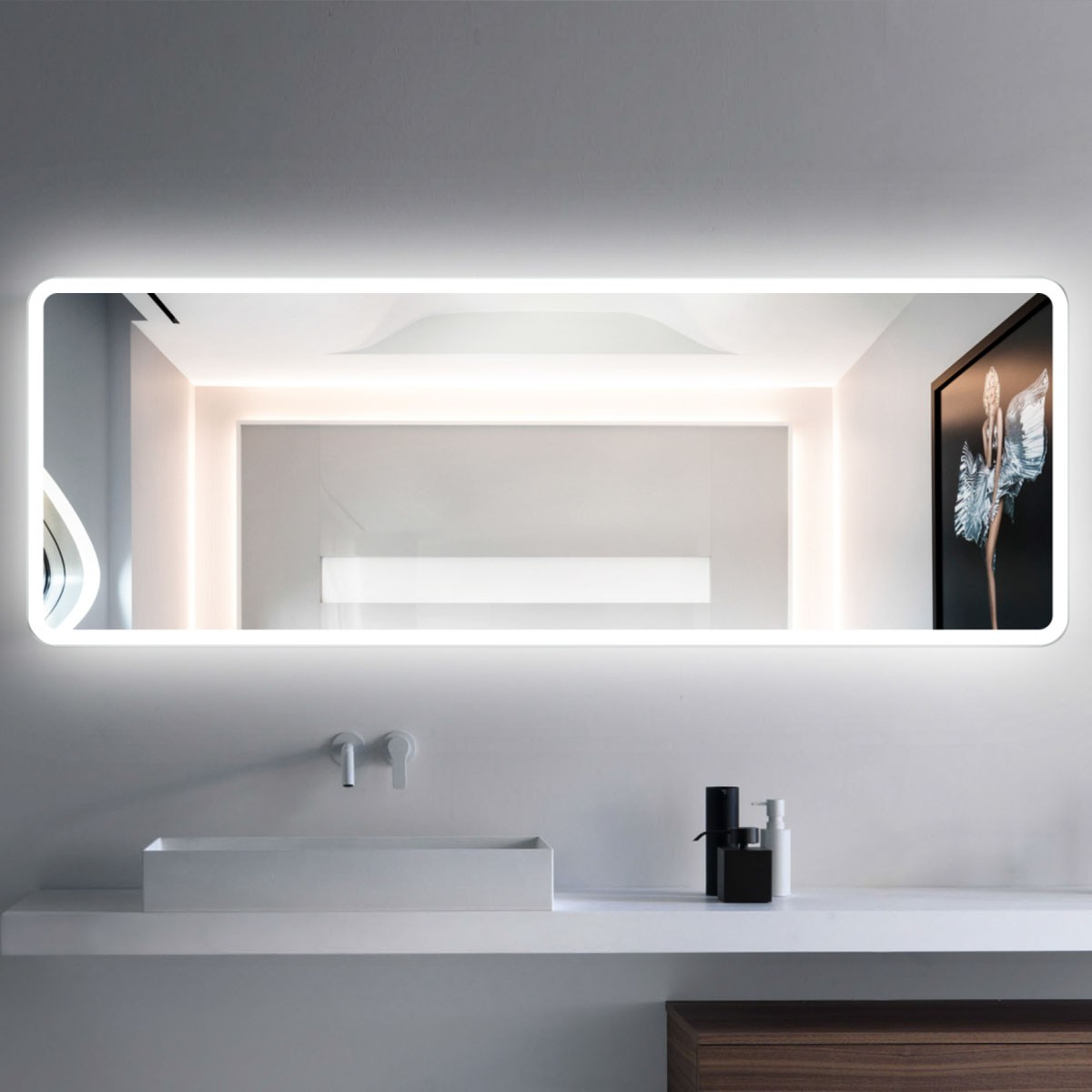 Super 55 X 20 In Horizontal Led Bathroom Mirror With Infrared Sensor Dk Ck201 Download Free Architecture Designs Sospemadebymaigaardcom