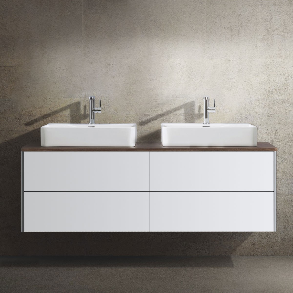 63 In. Wall Mount Vanity with White Double Basin (DW1604D-V)