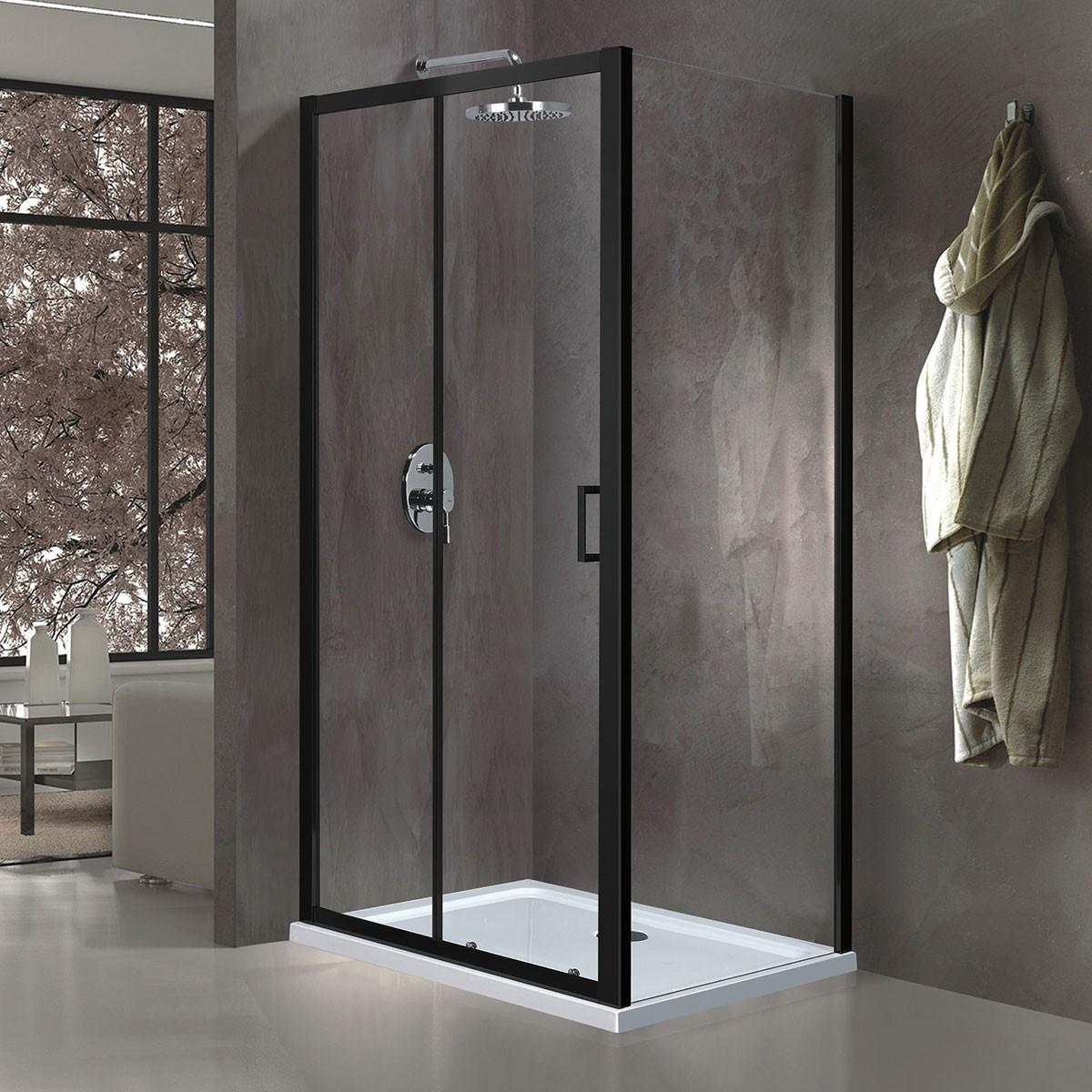 60 In. Sliding Shower Enclosure In Matte Black (EAB003004)