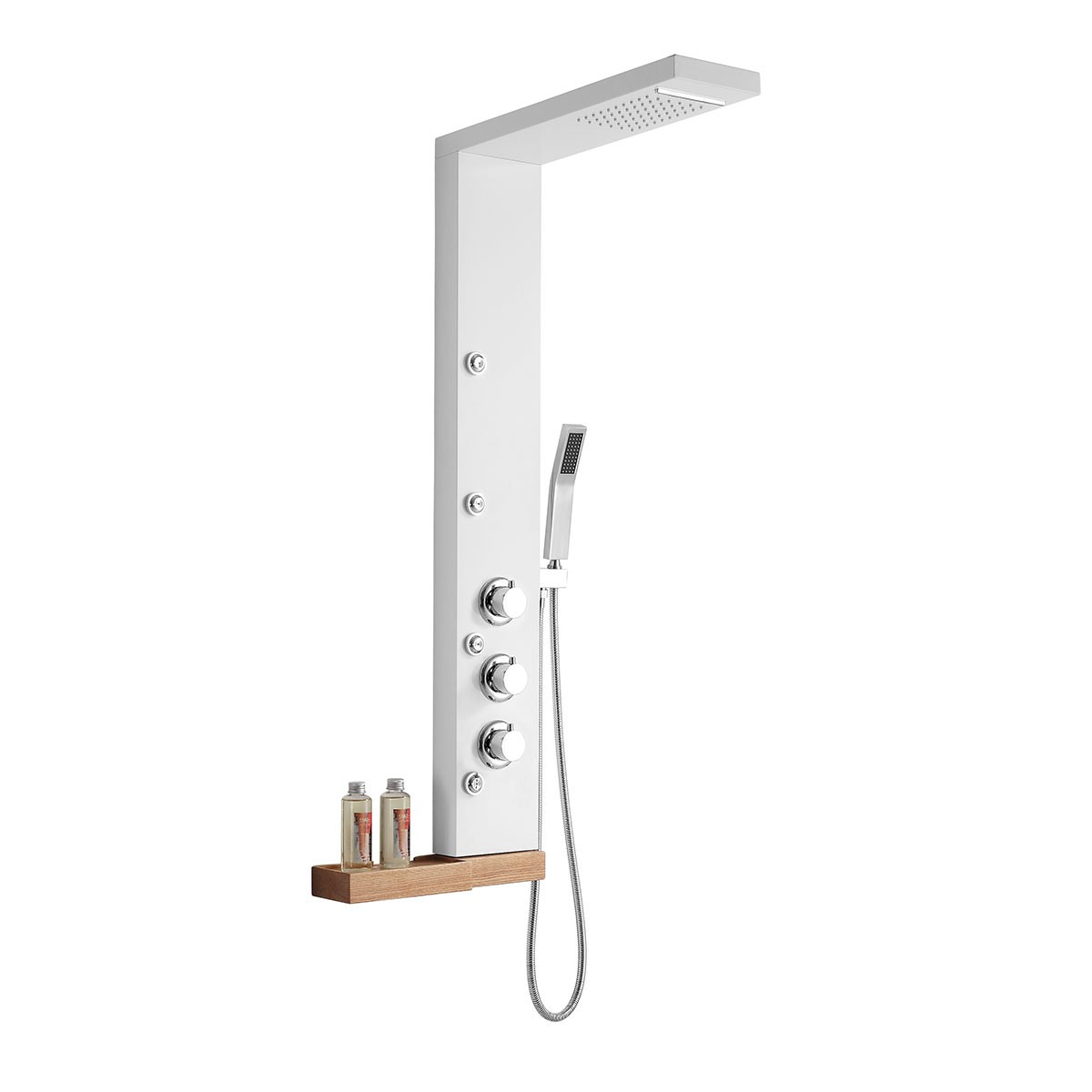 Thermostatic White Frosted Shower Panel System - Stainless Steel  (LYB-5570)