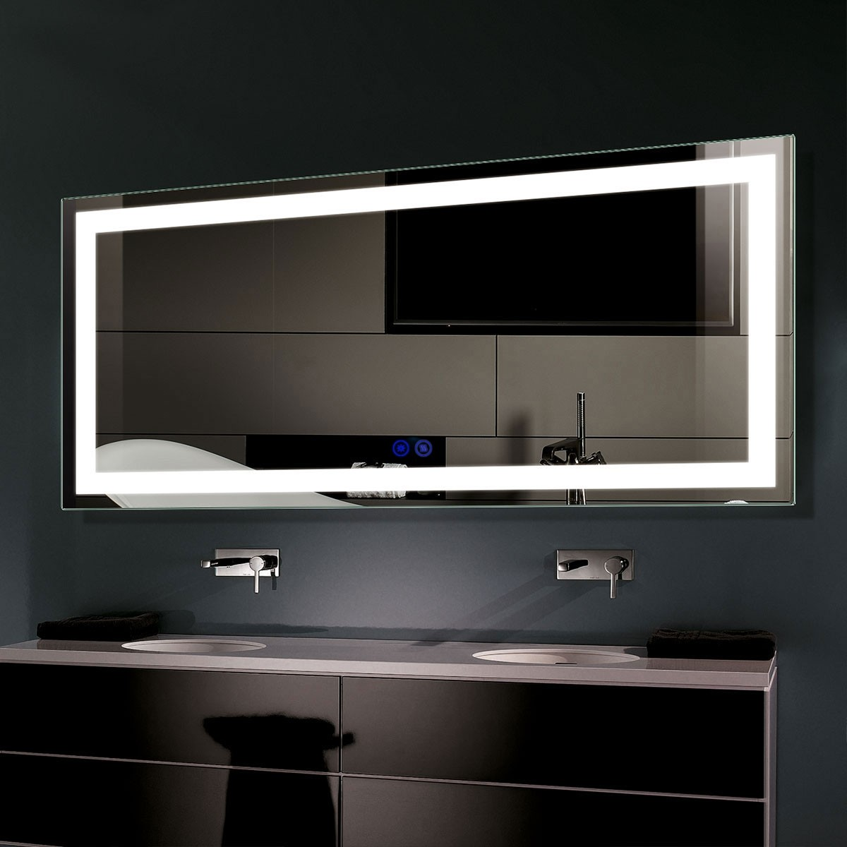 DECORAPORT 60 x 28 Inch LED Bathroom Mirror with Touch Button, Anti Fog, Dimmable, Vertical & Horizontal Mount (D204-6028)