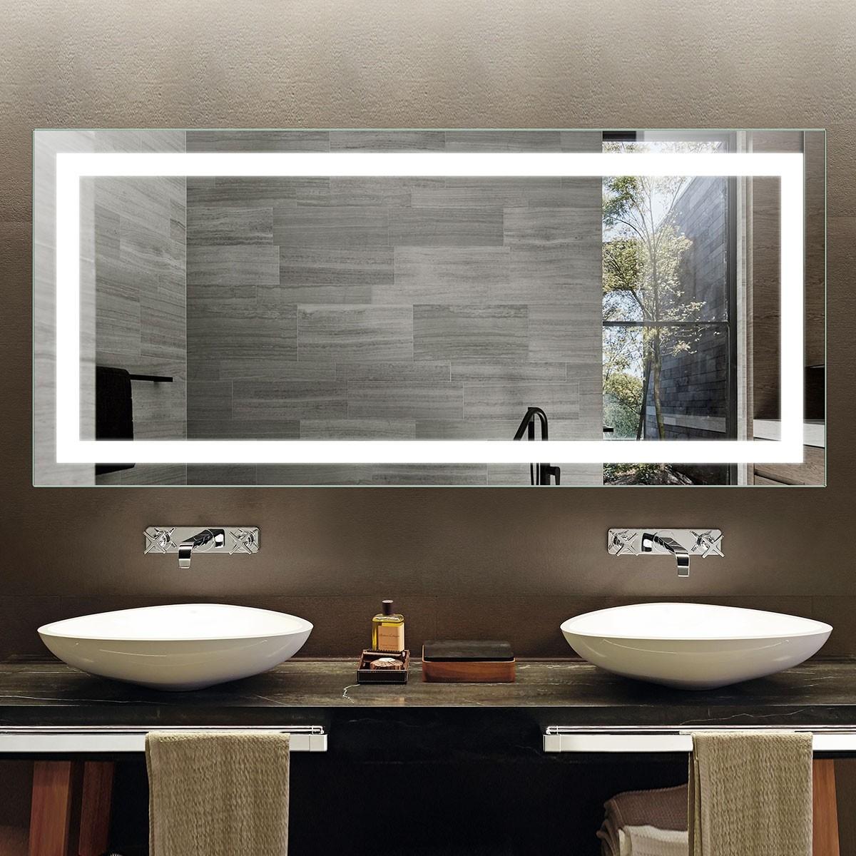 Decoraport 70 x 32 In LED Bathroom Mirror with Infrared Sensor Control, Anti-Fog, Vertical & Horizontal Mount (CK010-7032-GS)