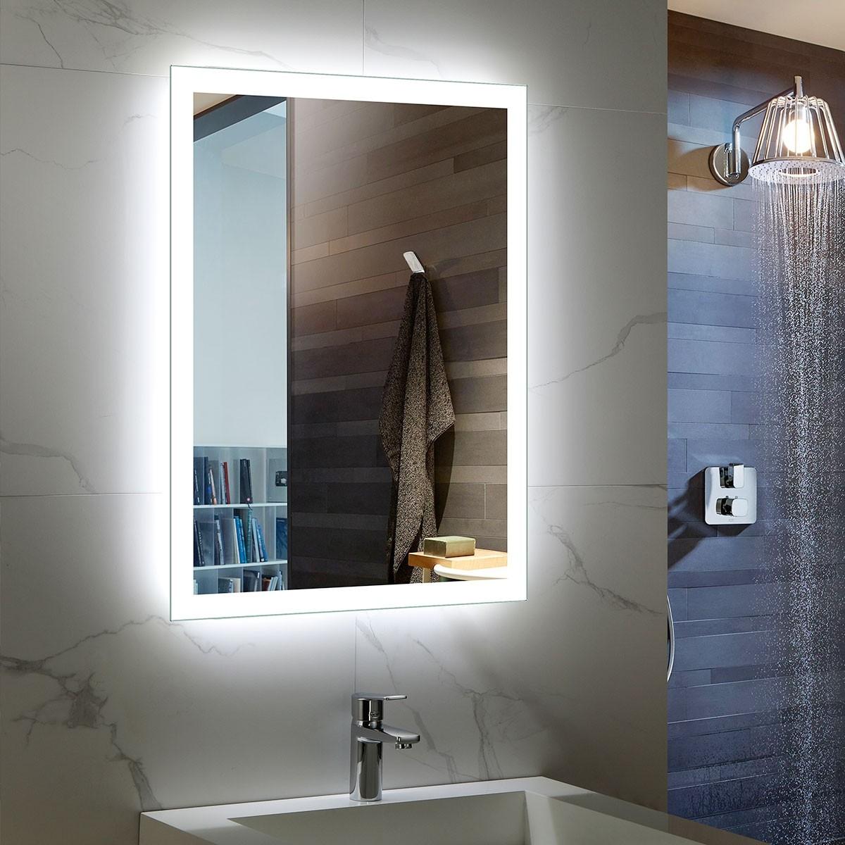DECORAPORT 24 x 32 Inch LED Bathroom Mirror/Dress Mirror with Infrared Sensor Control, Anti-Fog, Vertical & Horizontal Mount (NG15-2432)
