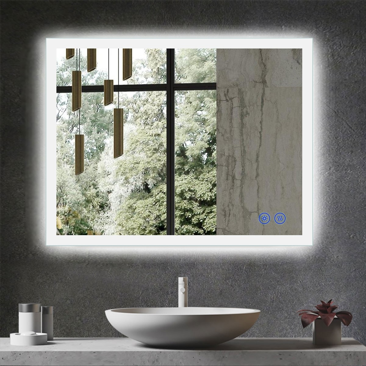 DECORAPORT 36 x 28 Inch LED Bathroom Mirror with Touch Button, Anti Fog, Dimmable, Vertical & Horizontal Mount (D113-3628)