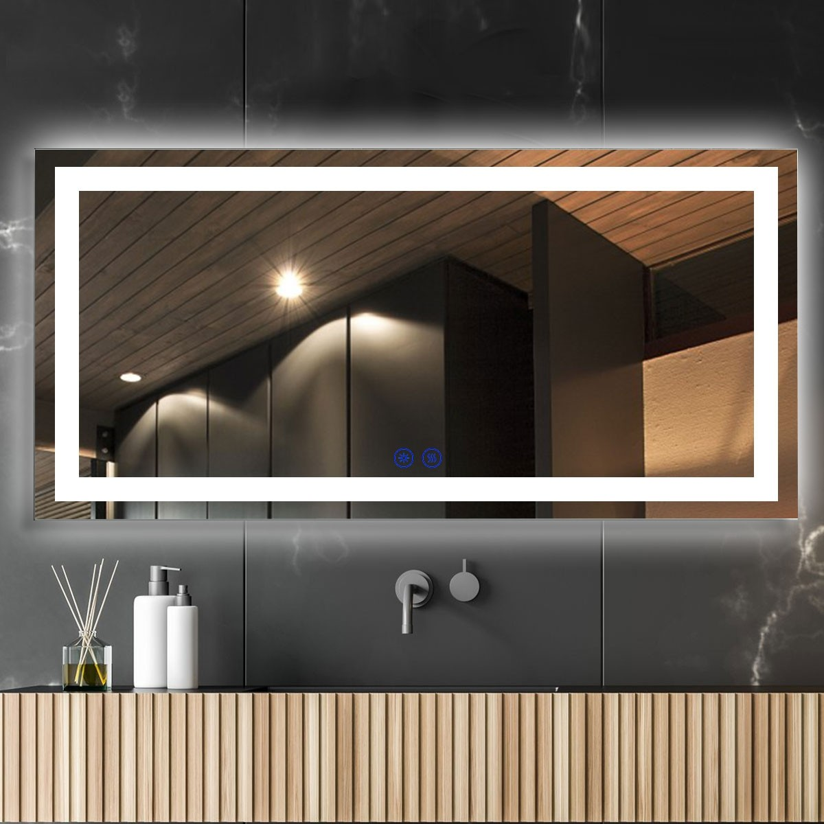 DECORAPORT 84 x 40 Inch LED Bathroom Mirror/Dress Mirror with Touch Button, Anti Fog, Dimmable, Bluetooth Speakers, Vertical & Horizontal Mount (D223-8440A)