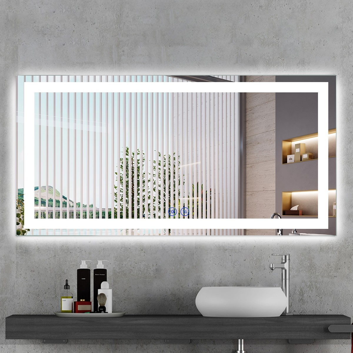 DECORAPORT 55 x 28 Inch LED Bathroom Mirror/Dress Mirror with Touch Button, Anti Fog, Dimmable, Vertical & Horizontal Mount (CT06-5528)