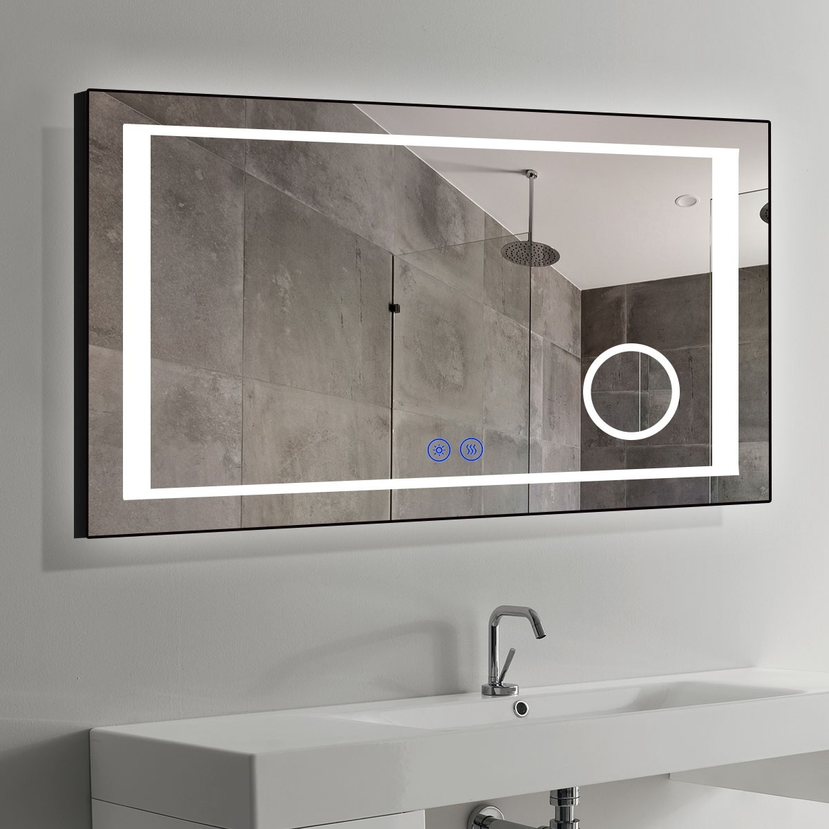 DECORAPORT 60 x 36 Inch LED Bathroom Mirror/Dress Mirror with Touch Button, Magnifier, Anti Fog, Dimmable, Vertical & Horizontal Mount (KT03-6036)