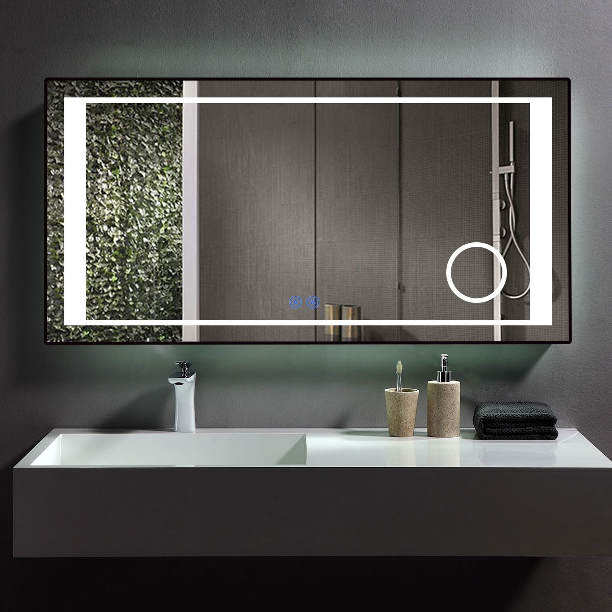 DECORAPORT 48 x 24 Inch LED Bathroom Mirror/Dress Mirror with Touch Button, Magnifier, Anti Fog, Dimmable, Vertical & Horizontal Mount (KT09-4824)