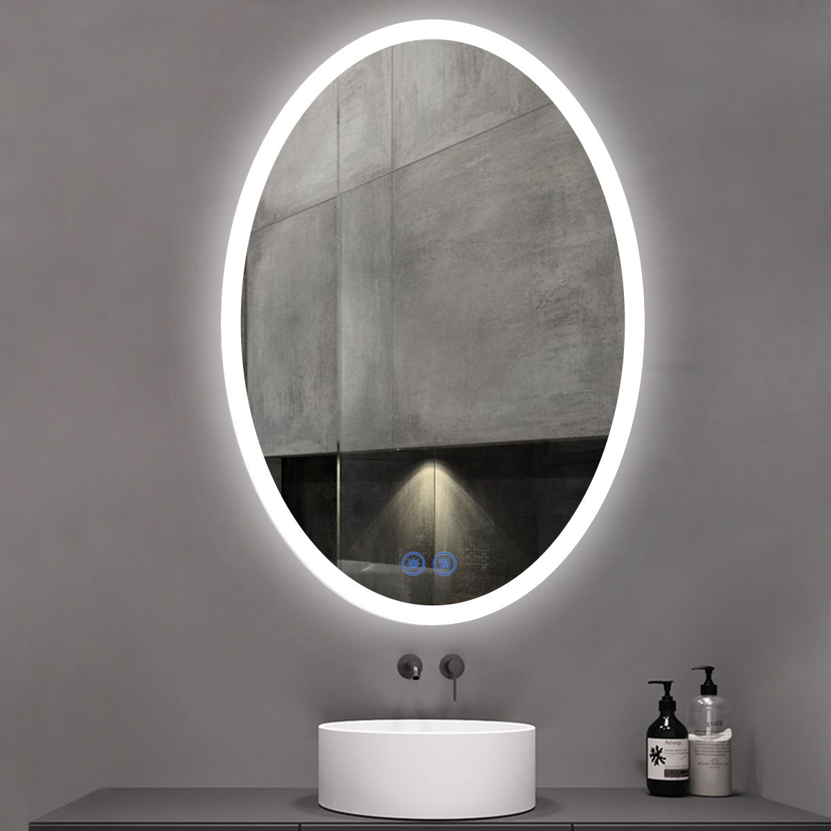 DECORAPORT 28 x 40 Inch LED Bathroom Mirror/Dress Mirror with Touch Button, Anti Fog, Dimmable, Vertical Mount (TT03-2840)