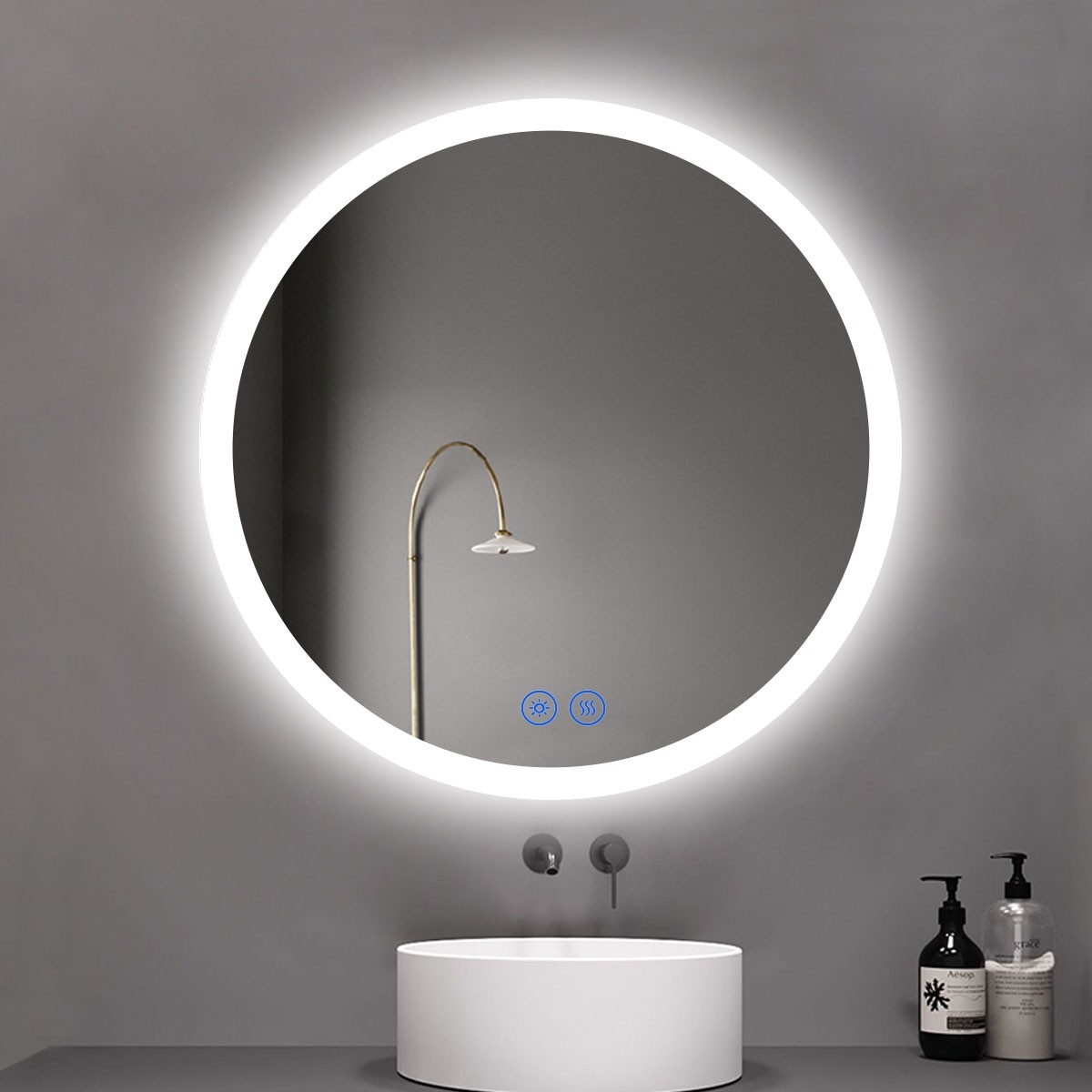 DECORAPORT 40 x 40 Inch LED Bathroom Mirror/Dress Mirror with Touch Button, Anti Fog, Dimmable, Vertical Mount (YT05-4040)