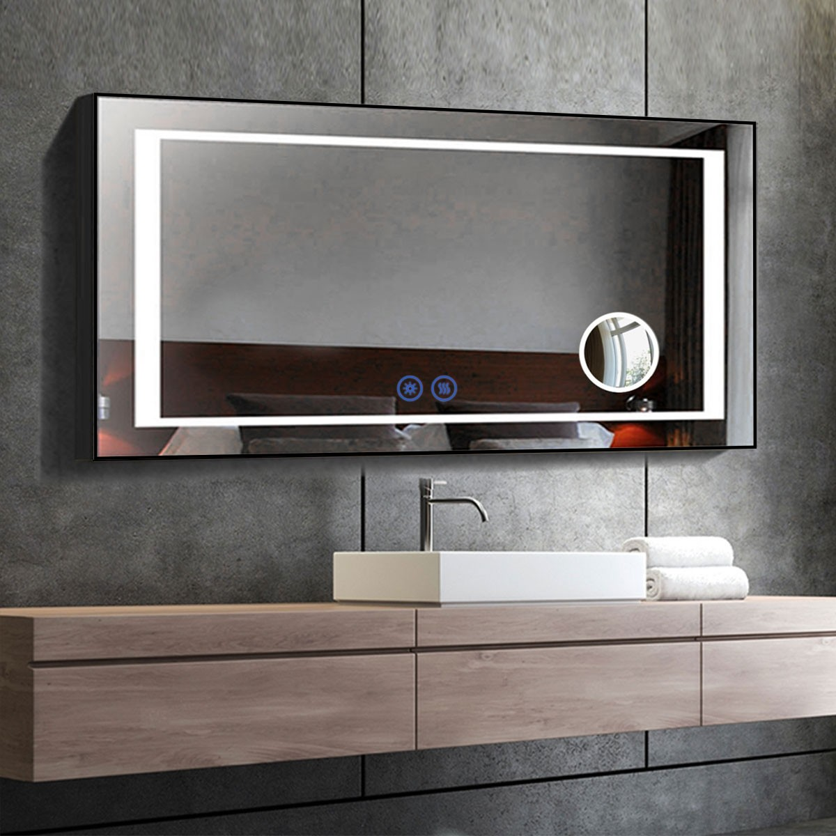 DECORAPORT 60 x 28 Inch LED Bathroom Mirror/Dress Mirror with Touch Button, Magnifier, Anti Fog, Dimmable, Vertical & Horizontal Mount (KT04-6028)