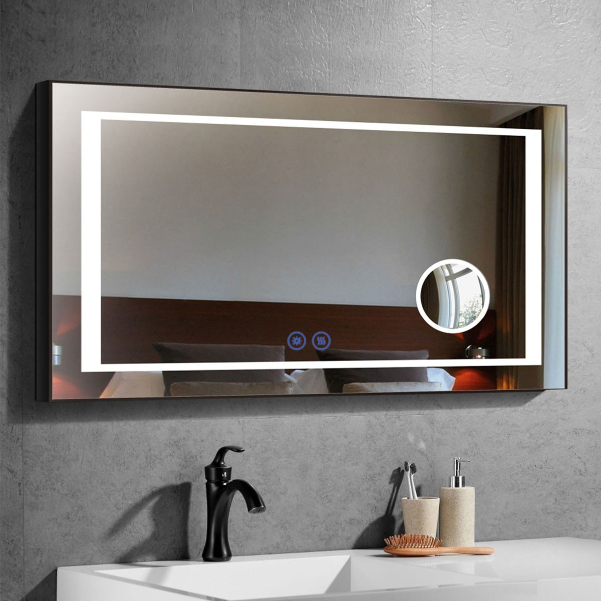 DECORAPORT 48 x 28 Inch LED Bathroom Mirror/Dress Mirror with Touch Button, Magnifier, Anti Fog, Dimmable, Horizontal Mount (KT08-4828)