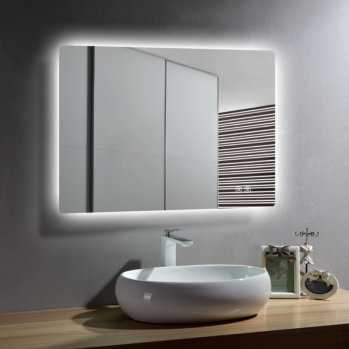 DECORAPORT 36 x 28 Inch LED Bathroom Mirror with Touch Button, Anti Fog, Dimmable, Vertical & Horizontal Mount (D513-3628)