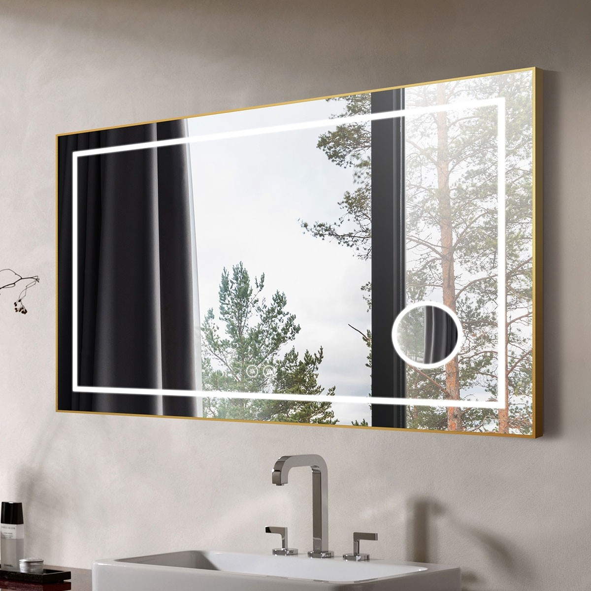 DECORAPORT 55 x 36 Inch LED Bathroom Mirror with Touch Button, Light Luxury Gold, Anti Fog, Dimmable, Bluetooth Speakers, Magnifier, Horizontal Mount (D721-5536AC)