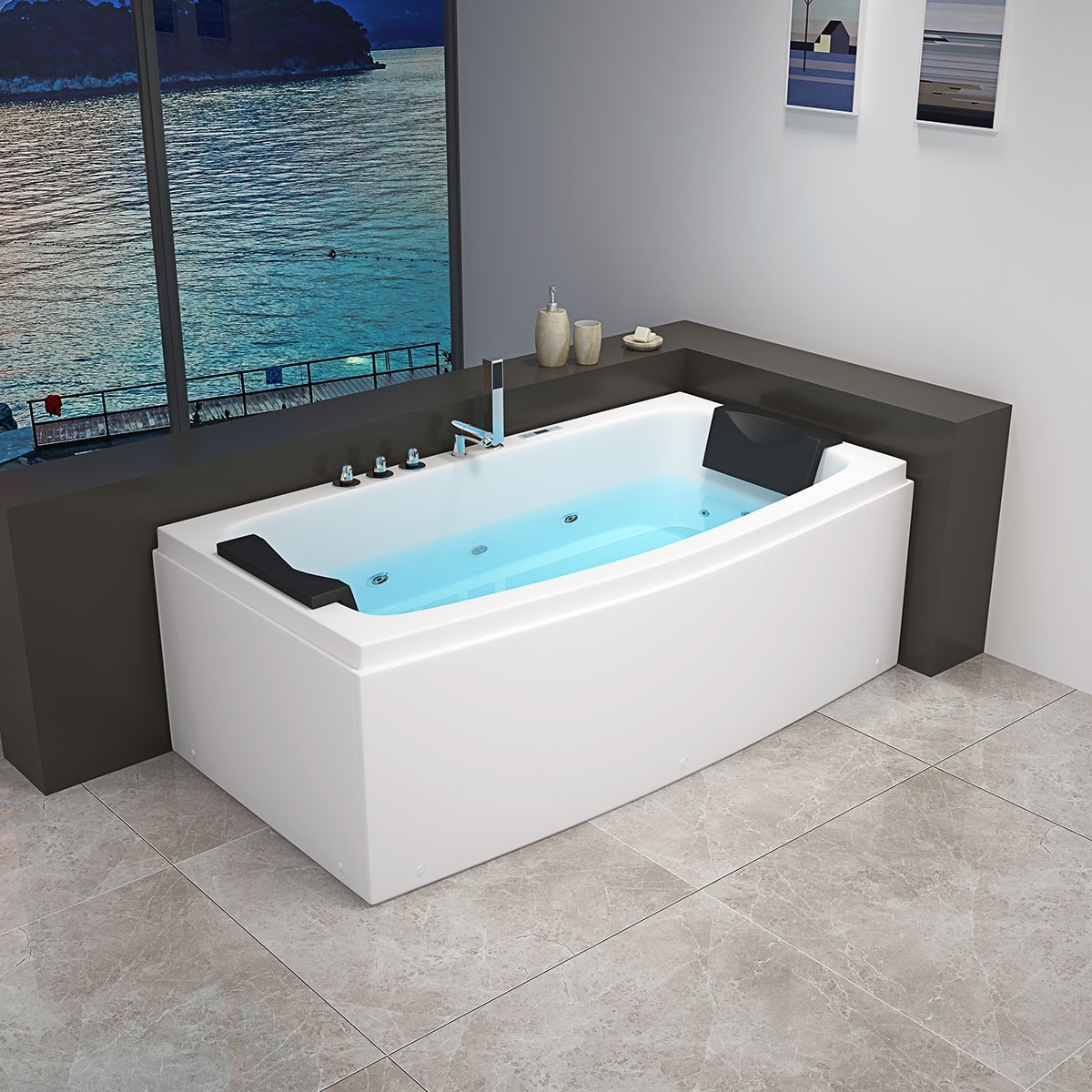Decoraport 67 x 32 In Whirlpool Tub with Computer Panel, Heater, Ozone (DK-RL-6141)