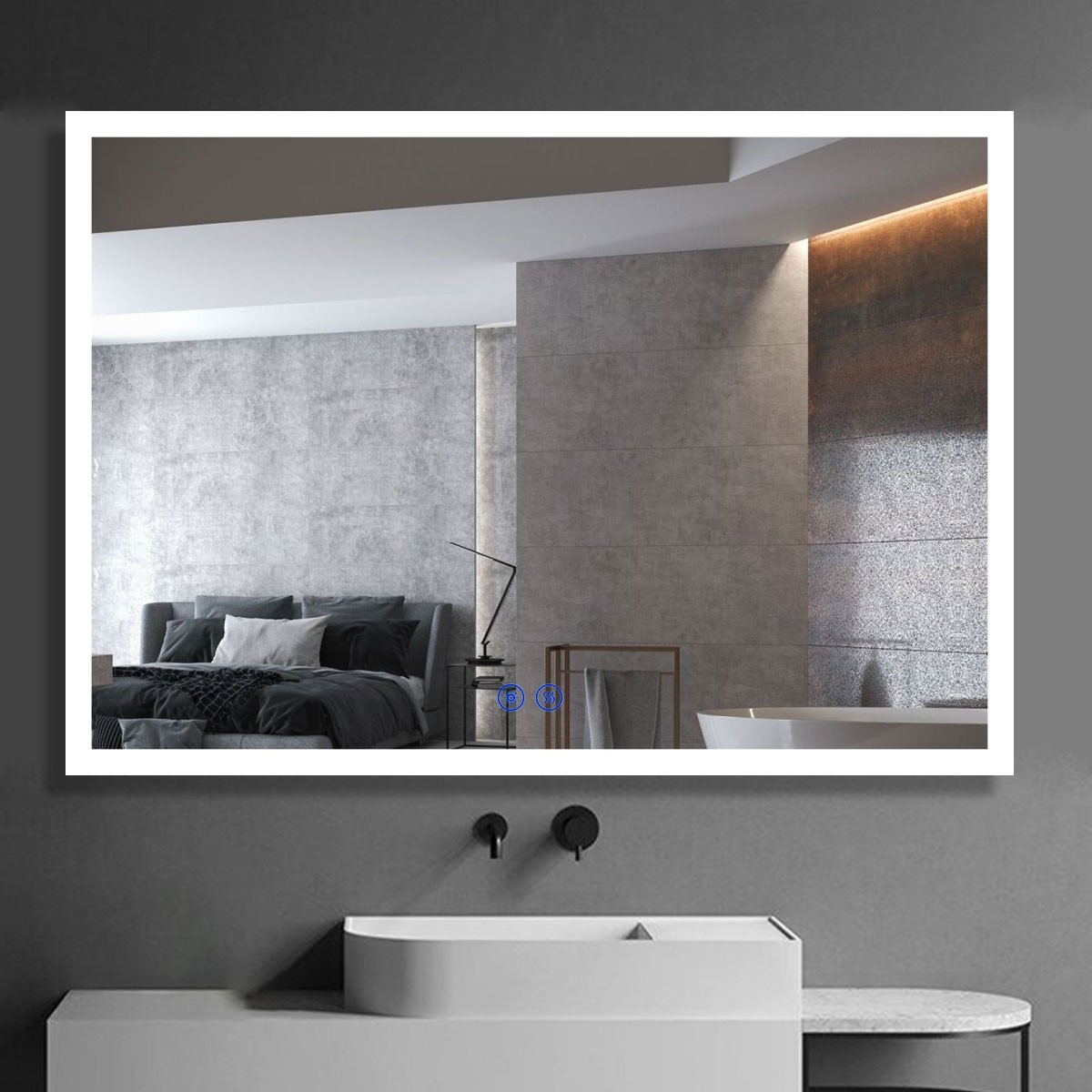 DECORAPORT 40 x 28 Inch LED Bathroom Mirror/Dress Mirror with Touch Button, Anti Fog, Dimmable, Vertical & Horizontal Mount (D110-4028)