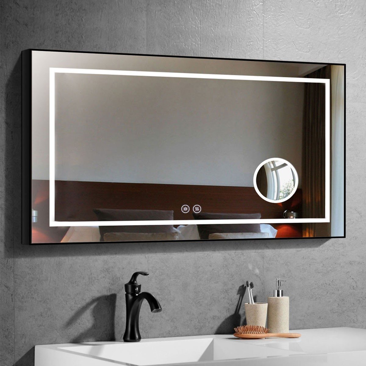 DECORAPORT 48 x 28 Inch LED Bathroom Mirror/Dress Mirror with Touch Button, Magnifier, Anti Fog, Dimmable, Horizontal Mount (D622-4828C)