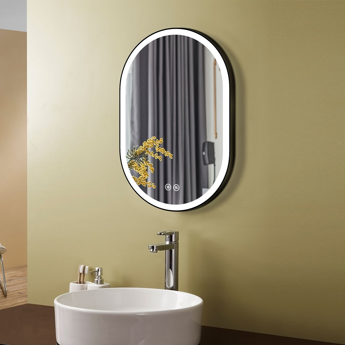 DECORAPORT 24 x 36 Inch LED Bathroom Mirror with Touch Button, Black , Anti Fog, Dimmable, Vertical & Horizontal Mount (D1301-2436)