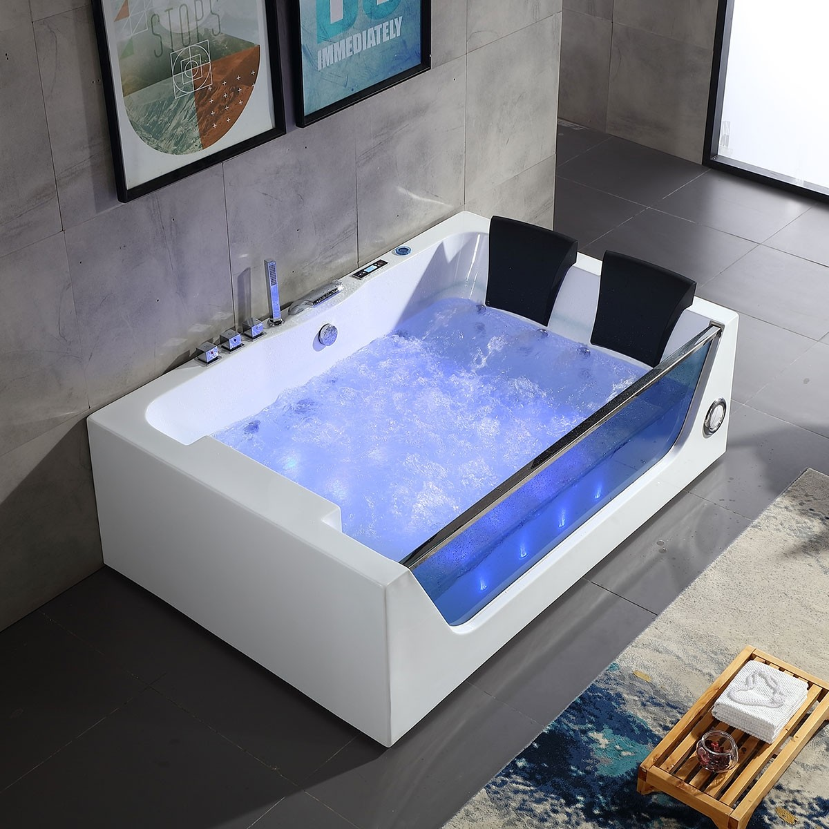 Decoraport 71 x 47 In Whirlpool Tub with Computer Panel, Air Bubble, Light (DK-Q411)