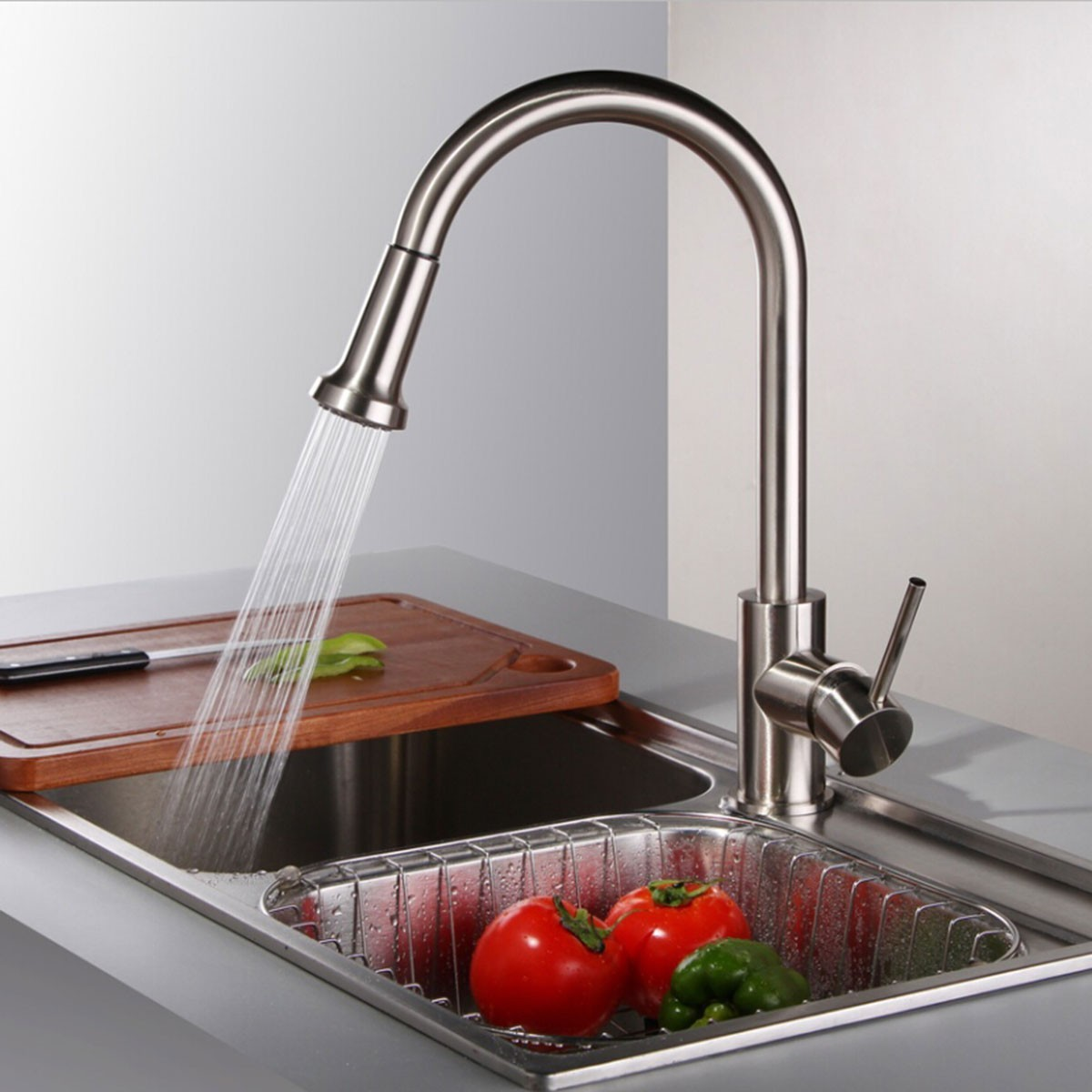 Decoraport Brass with Chrome Finish Pull Out Kitchen Faucet (D004)