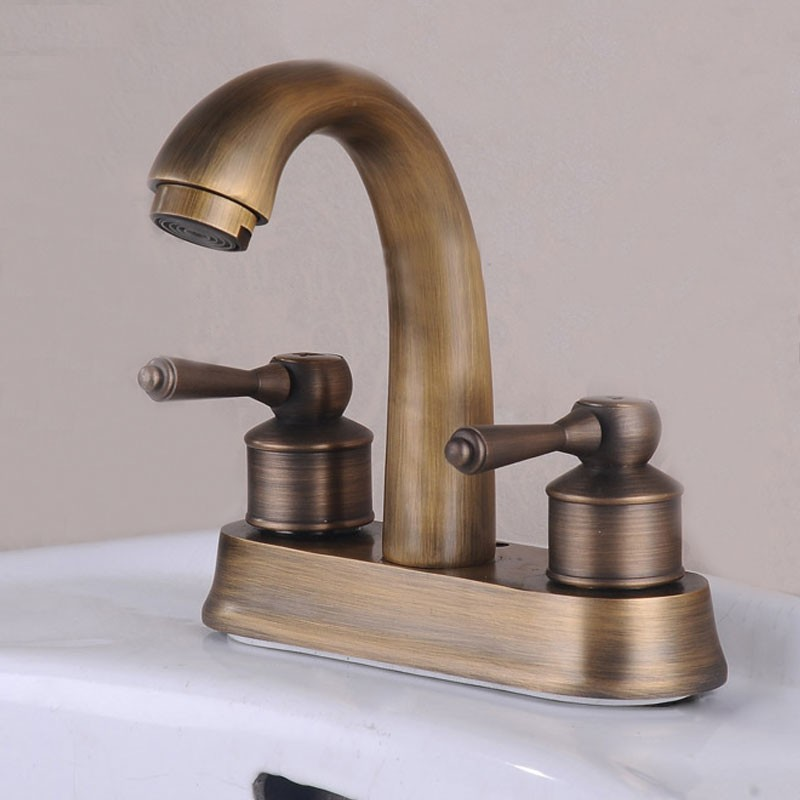 Decoraport Basin&Sink Faucet - Double Hole Double Lever - Brass with Antique Copper Finish (6902)