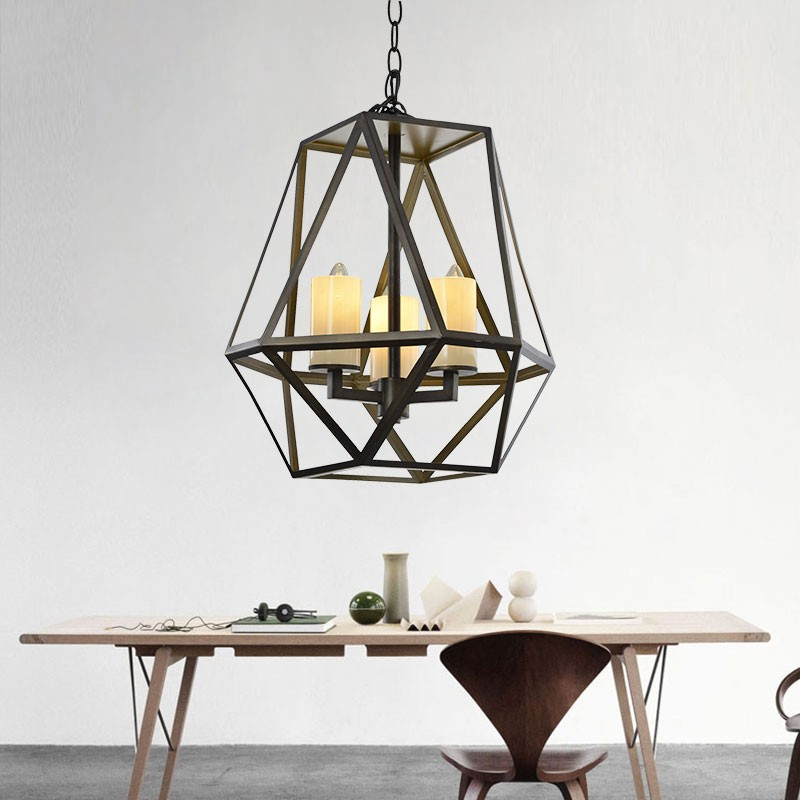 3-Light Iron/Glass Cage Pendant Light (MDCP69031-3)