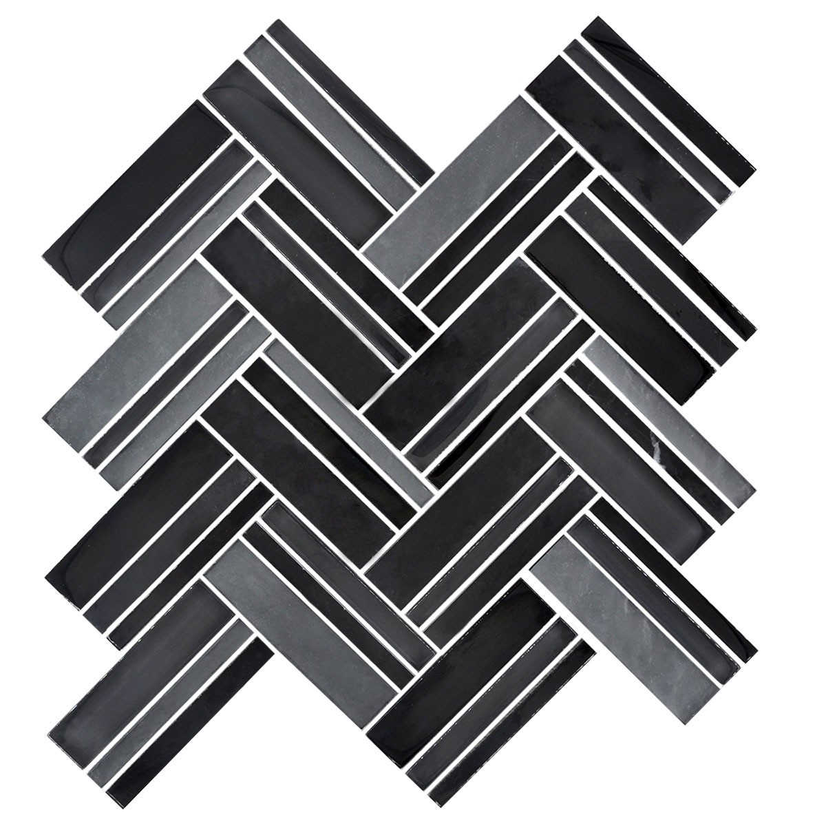 12.4 in. x 13.8 in. Glass and Stone Blend Strip Mosaic Tile - 8mm Thickness (DK-8NF0606-007)