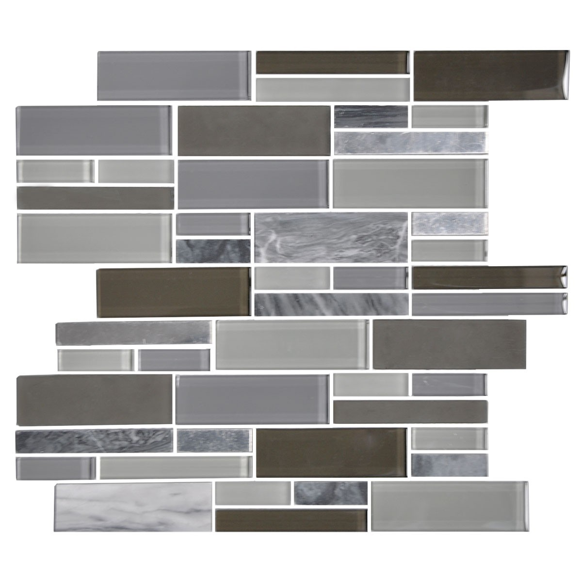 14.2 in. x 11.8 in. Glass and Stone Blend Strip Mosaic Tile - 8mm Thickness (DK-AD806044)