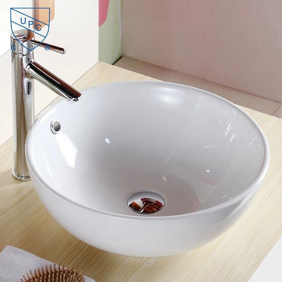 Decoraport White Round Ceramic Above Counter Vessel Sink (CL-1027)