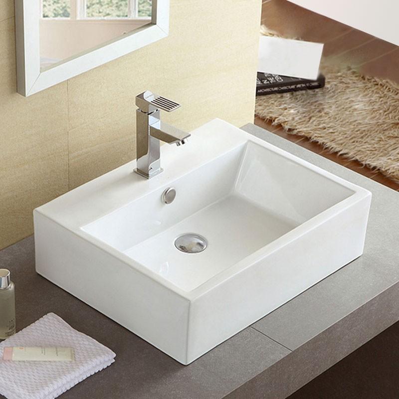 Decoraport White Rectangle Ceramic Above Counter Basin (CL-1114)