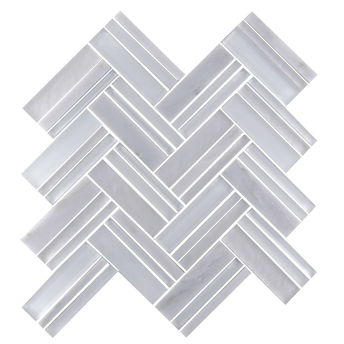 12.4 in. x 13.8 in. Glass and Stone Blend Strip Mosaic Tile - 8mm Thickness (DK-8NF0606-001)
