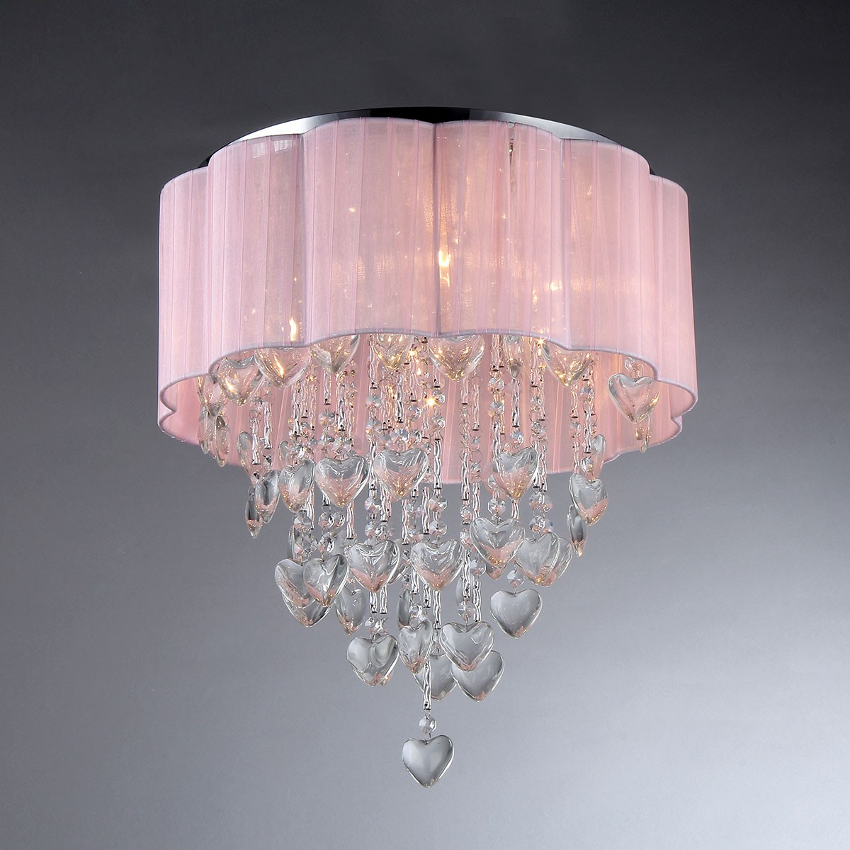 6-Light Crystal Ceiling Light with Round Pink Shade (DK-SS007)