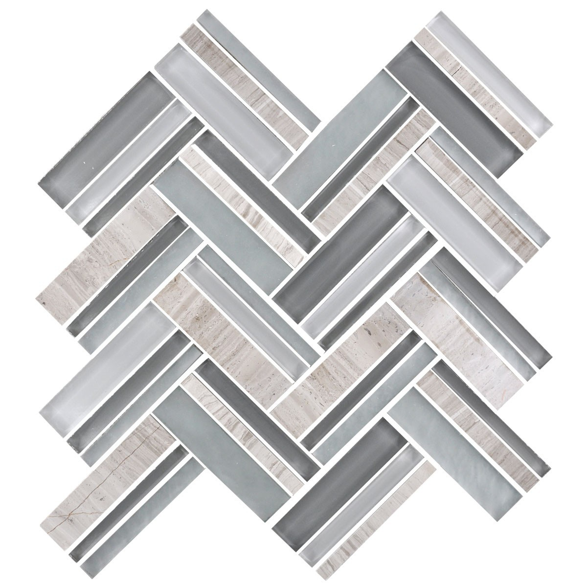 12.4 in. x 13.8 in. Glass and Stone Blend Strip Mosaic Tile - 8mm Thickness (DK-8NF0606-004)