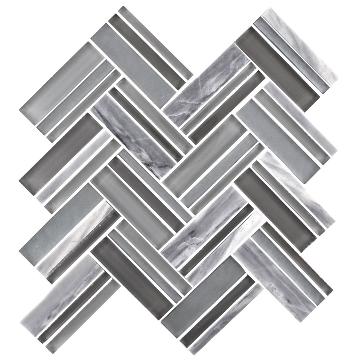 12.4 in. x 13.8 in. Glass and Stone Blend Strip Mosaic Tile - 8mm Thickness (DK-8NF0606-005)