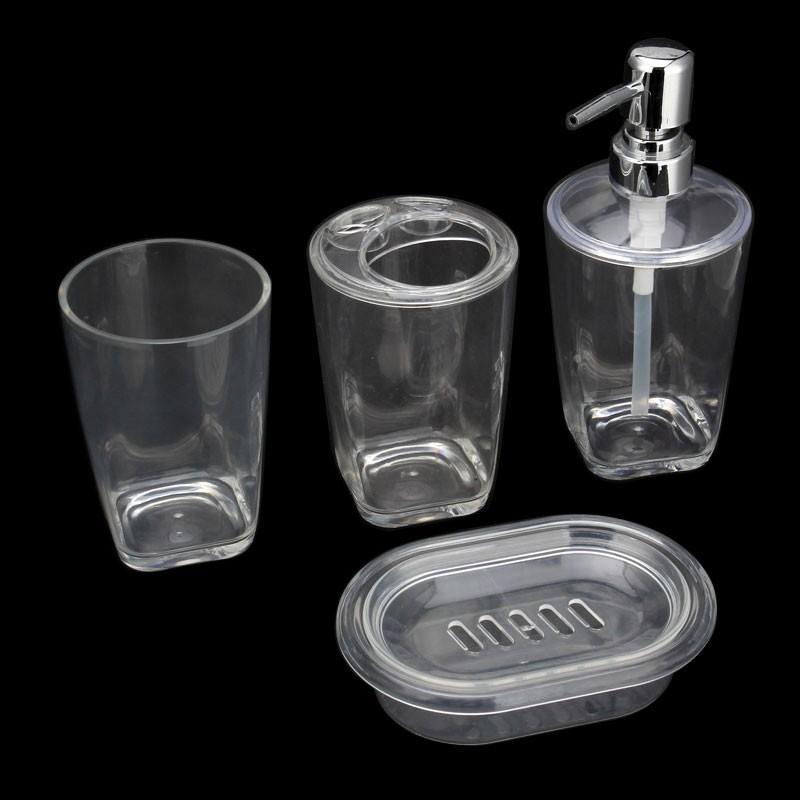 4-Piece Bathroom Accessory Set, Transparent Color (DK-ST002)