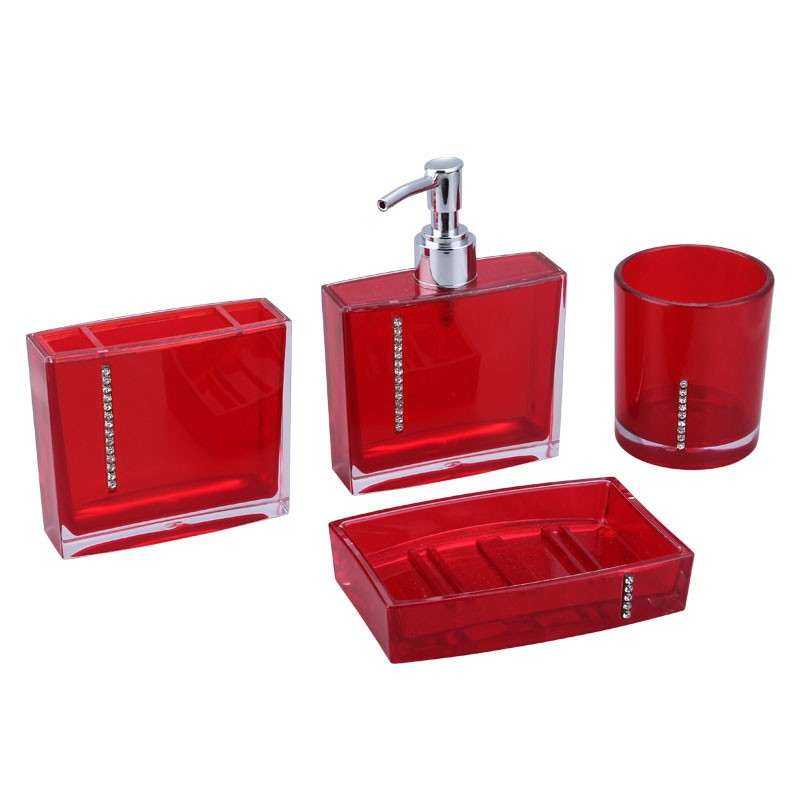 4 piece bathroom accessory set red dk st023