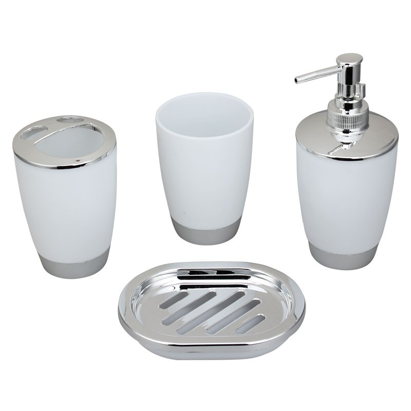 4 piece bathroom accessory set white dk st009 for Bathroom accessories set canada